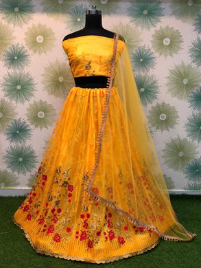 Yellow Color Anarkali Designer Circular Heavy Net Embroidered Lehenga Choli