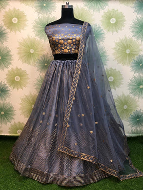Grey Color Wedding Traditional Party Net Embroidered Lehenga Choli