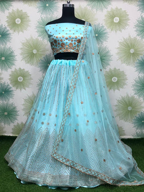 Skyblue Color Wedding Traditional Party Net Embroidered Lehenga Choli