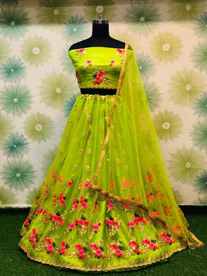 Wedding Festival Parrot Color Traditional Heavy Net Embroidered Lehenga Choli