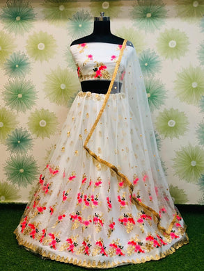 Wedding Festival White Color Traditional Heavy Net Embroidered Lehenga Choli
