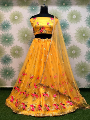 Wedding Festival Yellow Color Traditional Heavy Net Embroidered Lehenga Choli