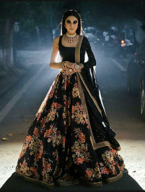 Black Color Silk Designer Semi Stitched Lehenga Choli With Dupatta