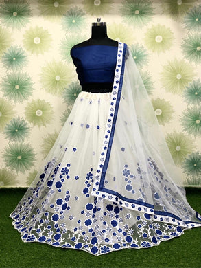 Navyblue Color Wedding Party Net Embroidered Semi Stitched Lehenga Choli