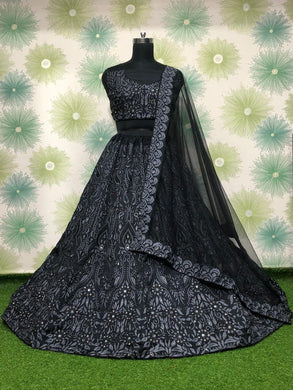 Black Color Wedding Ceremony Tapeta Silk Embroidered Lehenga Choli