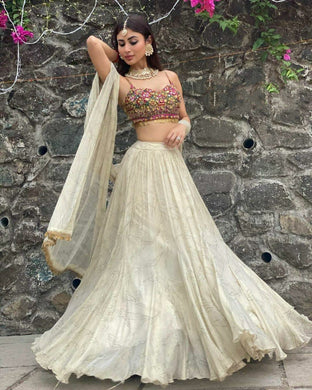 Cream Color Soft Silk Anarkali Semi Stitched Printed Lehenga Choli