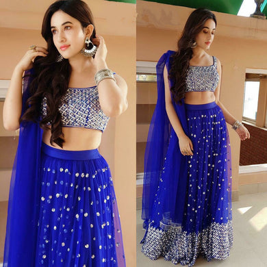 Blue Color Heavy Net Embroidery Sequins Work Semi Stitch Lehenga Choli