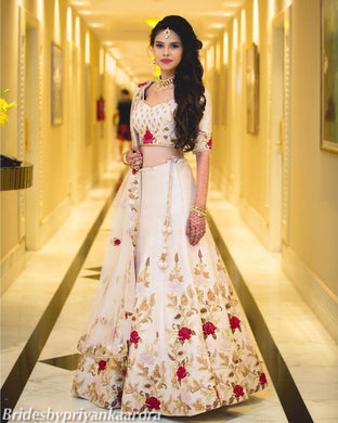 White Embroidered Heavy Satin Silk Semi Stitched Lehenga Choli