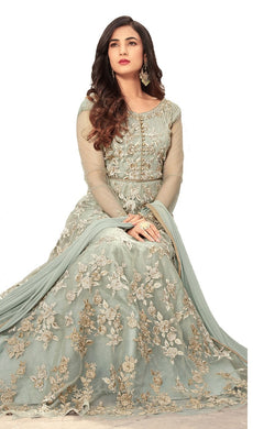 Grey Bollywood Party Wear Soft Net Heavy Embroidered Suit With Dupatta