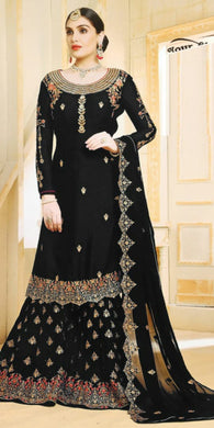 Indian Black Color Wedding Georgette Embroidered Plazzo Suit
