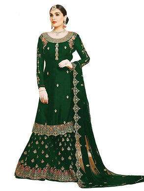 Exclusive Wedding Fabulous Green Color Georgette Embroidered Plazzo Suit