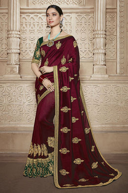 Maroon South Indian Bollywood Bridal Wedding Rangoli Silk Embroidered Saree With Blouse