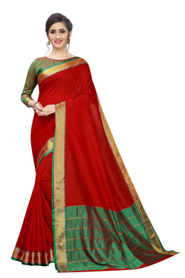 New Stylish Maroon Color Silk Saree With Blouse Piece