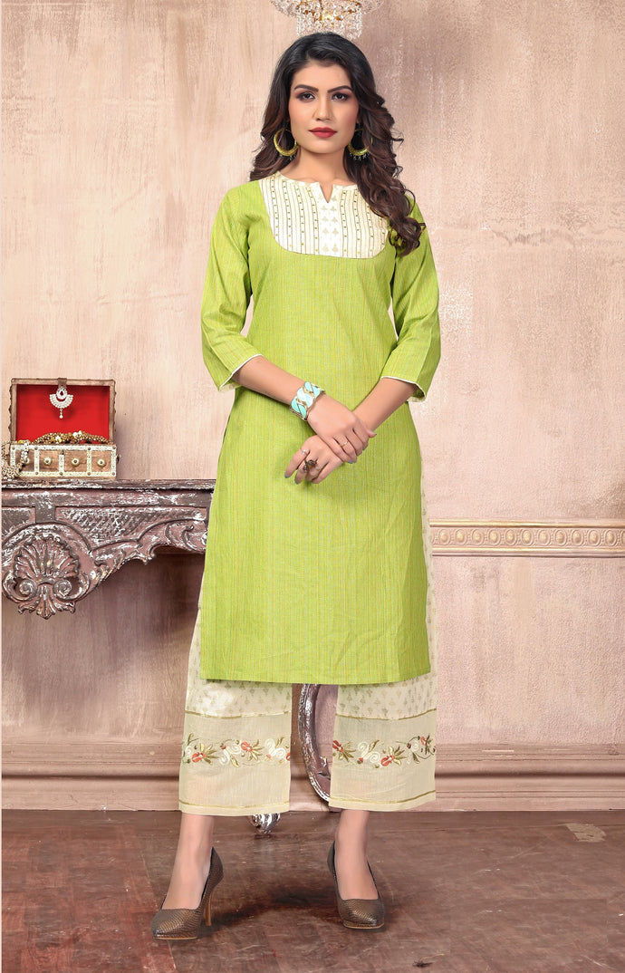 Parrot Color Latest Designer Women's Cotton Straight Kurti