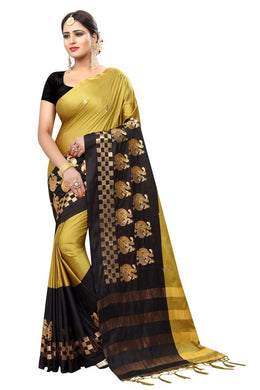 Awesome Attractive Designer Hot Lattest Cotton Weaving Saree With Blouse