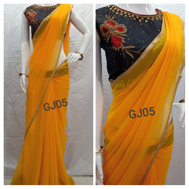 Awesome Attractive Hot Lattest Designer Georgette Saree With Stitched Blouse