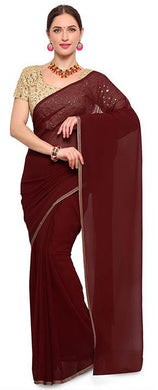 Bollywood Design Party Wear Georgette Saree With Nice Semi Stitched Heavy Embroidery Work Blouse