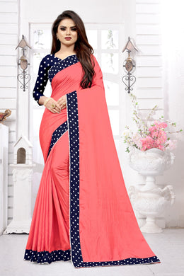 Pink & Blue Dola Silk Lace Border Dots Printed Work With Saree Collection