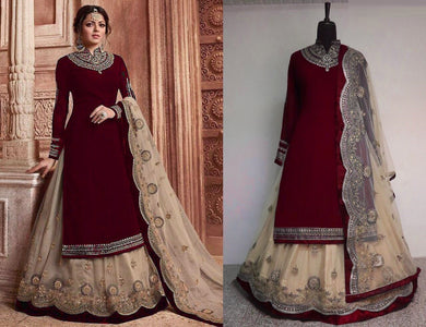 Maroon Faux Georgette Embroidered Work With Lehenga Salwar Suit
