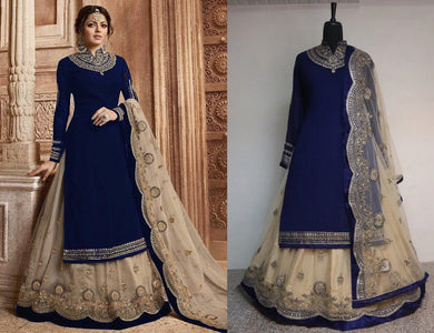 Navy Blue Faux Georgette Embroidered Work With Lehenga Salwar Suit