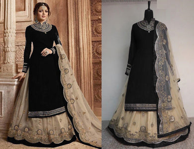 Black Faux Georgette Embroidered Work With Lehenga Salwar Suit