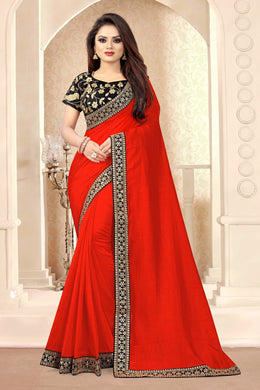Red Vichitra Silk Embroidered Sequence Work With Saree Collection