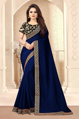 Navy Blue Vichitra Silk Embroidered Sequence Work With Saree Collection