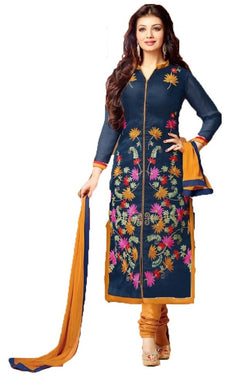 Elegant Navy Blue Colored Blended Cotton Straight Salwar Kameez