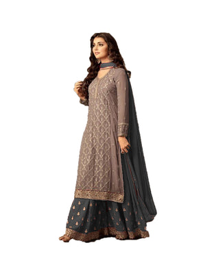Luxurious Brown And Grey Colored Embroidered Worked Georgette Sarara Salwar Suit