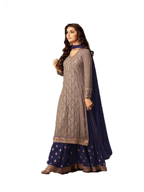 Breathtaking Brown And Blue Colored Embroidered Worked Georgette Sharara Salwar Suit