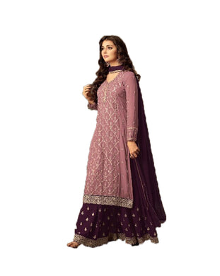 Magnificent Magenta Colored Embroidered Worked Georgette Sharara Salwar Suit