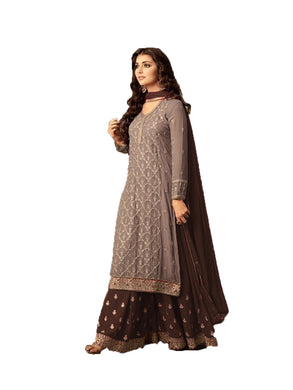 Wonderful Rossy Brown Colored Embroidered Worked Heavy Georgette Sharara Salwar Kameez