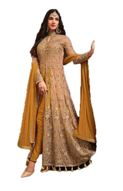 Blissful Dark Yellow Coloured Net Embroideried Worked Long Anarkali Salwar Kameez