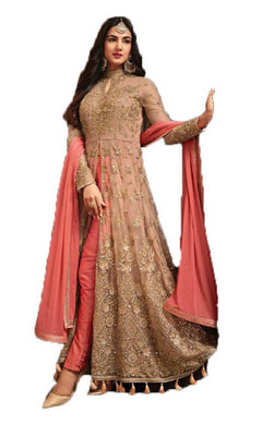 Sparkling Salmon Color Net Fabric Heavy Embroideried Worked Long Anarkali Salwar Suit