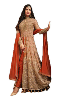 Elegant Red Colored Festival Wear Net Fabric Floor Long Anarkali Salwar Kameez