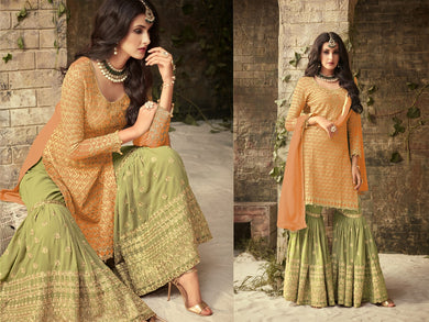 Dazzling Dark Yellow Colored Heavy Georgette Wedding Wear Chain Stitch Embroideried Plazo Style