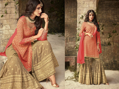 Tremendous Tomato Colored Chain Stitch Embroidered Worked Georgette Chain Stitch Embroideried Wor