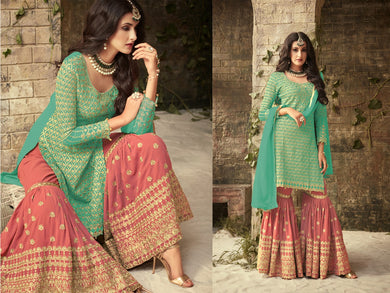 Eye Catching Sky Blue And Peach Colored Chain Stitch Embroideried Worked Georgette Plazzo Salwar