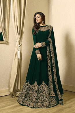 Blissful Teal Green Coloured Heavy Codding Embroidered Worked Georgette Anarkali Suit