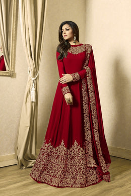 Phenomenal Dark Red Colored Heavy Codding Embroidered Worked Georgette Anarkali Salwar Suit