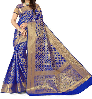 New Trendy Festival Indian Designer Ethnic Heavy Weaving Banarasi Silk  Saree With Running Blouse