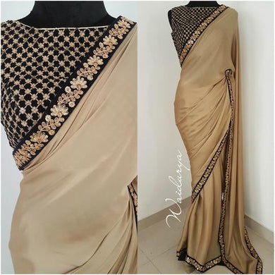New Trendy Latest Designor Soft And Smooth Beige Rangoli Silk Saree With Work Blouse