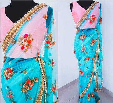 New Trendy Latest Designor Soft And Smooth Skyblue Net Saree With Blouse