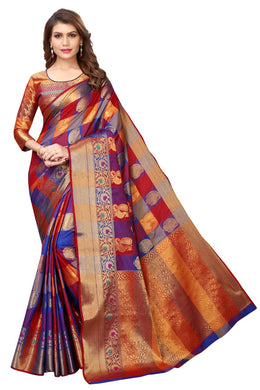 New Indian Designer Multi Colour Checks Banarasi Silk Designor Saree With Rich Pallu And Blouse