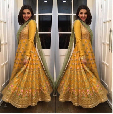New Trendy Lattest Designor Yellow Heavy Embroiderey Semi-stitched Salwar Suit