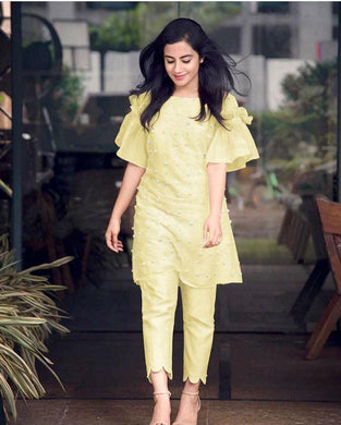 New Trendy Lattest Designor Yellow Colour Heavy Embroidery Work Salwar Suit