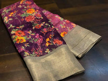 Trendy Lattest Soft And Smooth Linen Cotton Saree With Digital Print With Running Blouse