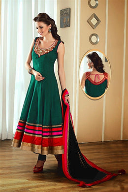 Designer Aqua Satin Bangrori And Embroidery? Neck Work Anarkali Salwar Kameez