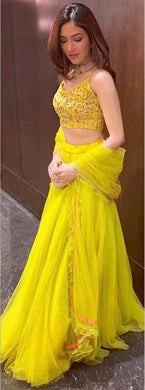Yellow Colour Lehenga Choli With Ruffel Lace Dupatta