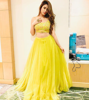 Lemon Yellow Colour Lehenga Choli With Ruffel Lace Dupatta And Embroidered Work Blouse